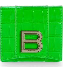 balenciaga hourglass croc embossed leather wallet - green