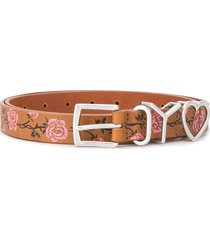 y/project floral embroidered belt - brown
