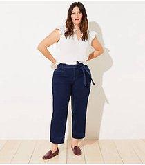 loft loft plus tie waist high waist straight leg jeans in vintage dark indigo wash