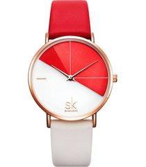 reloj mujer lujo dial acero inoxidable shengke 0095 rojo
