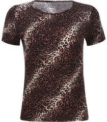 camiseta visos animal print color café, talla l