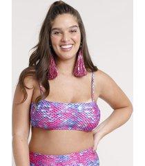biquíni top faixa carnaval estampado de paetê com alça e bojo removível pink