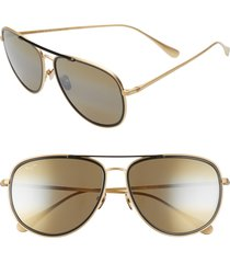 maui jim fair winds 58mm polarized navigator sunglasses in gold matte/black gloss at nordstrom