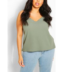 plus scalloped edge cami top, khaki
