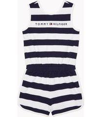tommy hilfiger girl's adaptive stripe romper evening blue multi - s