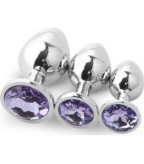 3pcs redondo convencional plug anal grande con traje de medianos y pequeños diamantes-púrpura claro