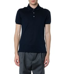 salvatore ferragamo navy blue cotton polo shirt
