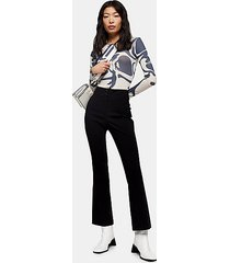 petite black stretch flare pants - black