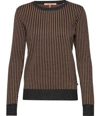 basic pull with lurex & striped ribs stickad tröja svart scotch & soda