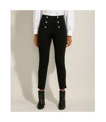calça legging cintura super alta com botões preta