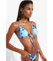 marmerprint bikini top met o-ring detail, blue