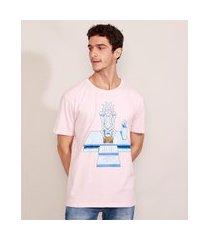 camiseta masculina manga curta rick and morty gola careca rosa claro