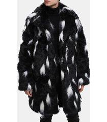 giacca casual da uomo lunga in caldo cappotto invernale bianco nero in finta pelliccia