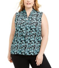adrienne vittadini plus size printed scarf top
