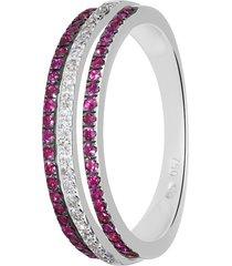 anello in oro bianco, rubini 0,32 ct e diamanti 0,12 ct per donna