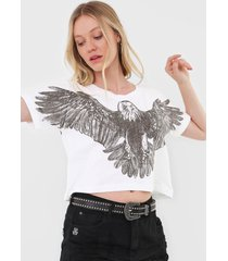 camiseta cropped john john big eagle off-white - off white - feminino - algodã£o - dafiti