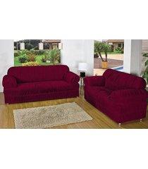capa de sofá atual 2 e 3 lugares vinho com 2 peças malha elástica - aquarela