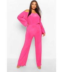 plus bardot flare sleeve wide leg jumpsuit, hot pink