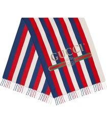 gucci sylvie stripe modal silk scarf - blue