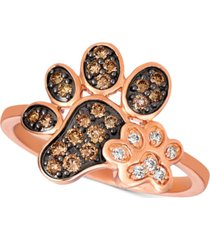 le vian nude & chocolate diamond paw prints ring (3/8 ct. t.w.) in 14k rose gold
