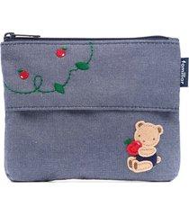 familiar teddy bear-appliqué pouch bag - blue