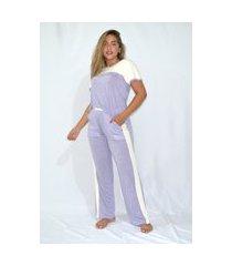 pijama mundo dos pijamas manga  e calca roxo