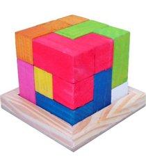 desafio kits e gifts cubo para montar - madeira - vermelho