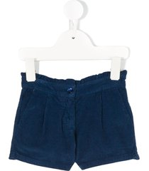 knot scalloped corduroy shorts - blue
