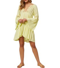 women's o'neill saltwater solids long sleeve cover-up tunic dress, size large - yellow