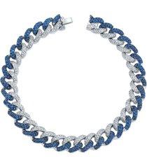 blue sapphire and diamond medium pave link bracelet