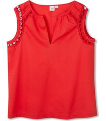 blusa sin mangas embroidery mujer rojo gap