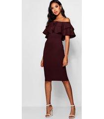 bardot layered frill detail midi dress, berry