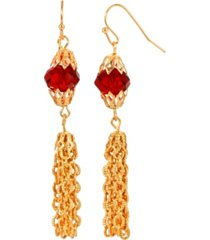 2028 women's 14k gold dipped red bead tassel drop earring