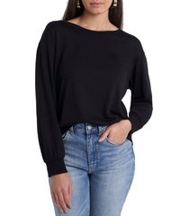 1.state tie back sweatshirt, size large in rich black at nordstrom