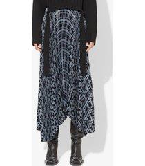 proenza schouler pleated plaid chiffon skirt pale blue/black plaid 4