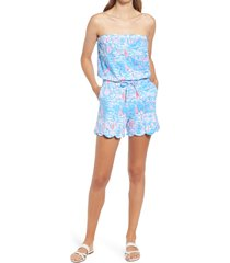 women's lilly pulitzer jace sailboat print stretch cotton romper, size xx-small - blue