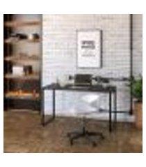 mesa de escritório kuadra preta 135 cm
