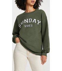 river island womens khaki 'sunday vibes' long sleeve sweatshirt