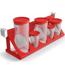 utensãlio vermelho sem temporada suporte porta-condimentos vermelho solido de plã¡stico - vermelho - dafiti