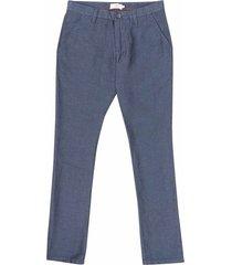 pantalón en mezcla lino-algodón azul con textura para hombre 93228