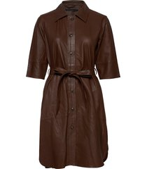 clare thin leather dress kort klänning brun mdk / munderingskompagniet
