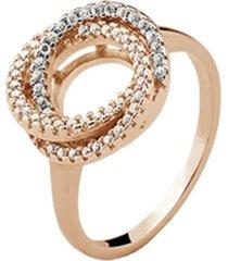 anel elos triplos cravejados cristais zircônias banhado a ouro rosé