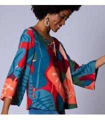 blusa ampla estampa maracatu feminina - feminino