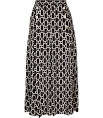 kjol alba moda svart::beige::offwhite