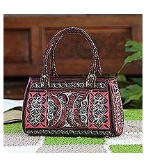 cotton handle handbag, 'carnation crescents' (indonesia)