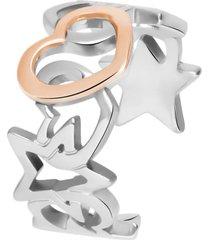 anello cuore in acciaio bicolore per donna