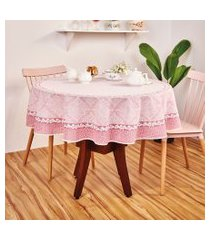 toalha de mesa redonda lepper helena estampada 155cm rosa