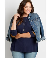 maurices plus size womens 24/7 solid varsity stripe sleeve rib tee blue