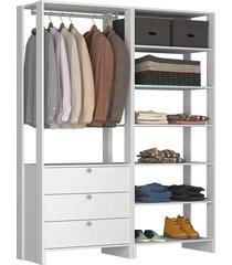 guarda roupa closet 2 peças c/ 1 cabideiro 3 gavetas e 7 nichos yes nova mobile