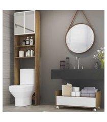 armário de banheiro para vaso sanitário com espelho e balcáo com rodízios multimóveis rustic/branco